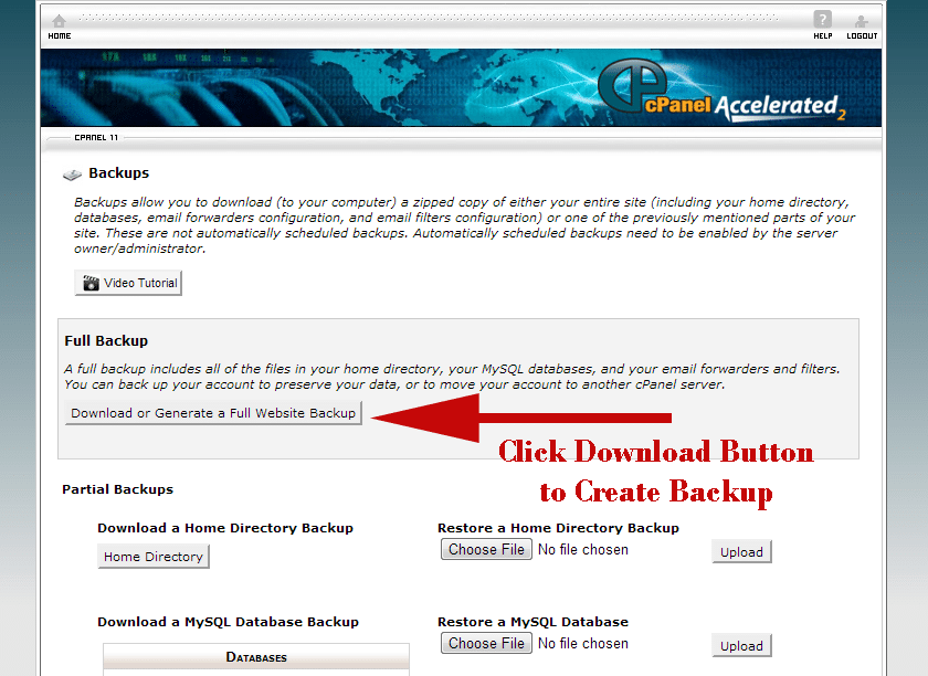 website backup from cpanel