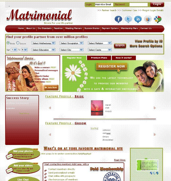 Matrimonial / Wedding Website PHP Script Free Download