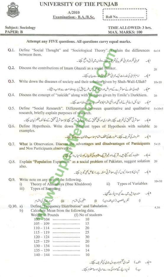 Sociology B Punjab university past papers