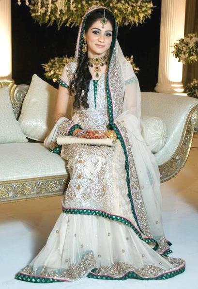 White Mehndi Outfits : New walima dresses for bridals of pakistan