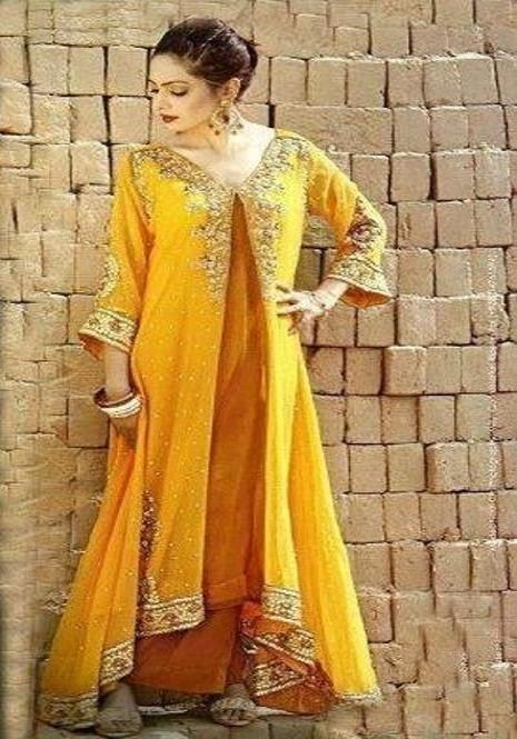 Bridal Mehndi dresses 2015 designs