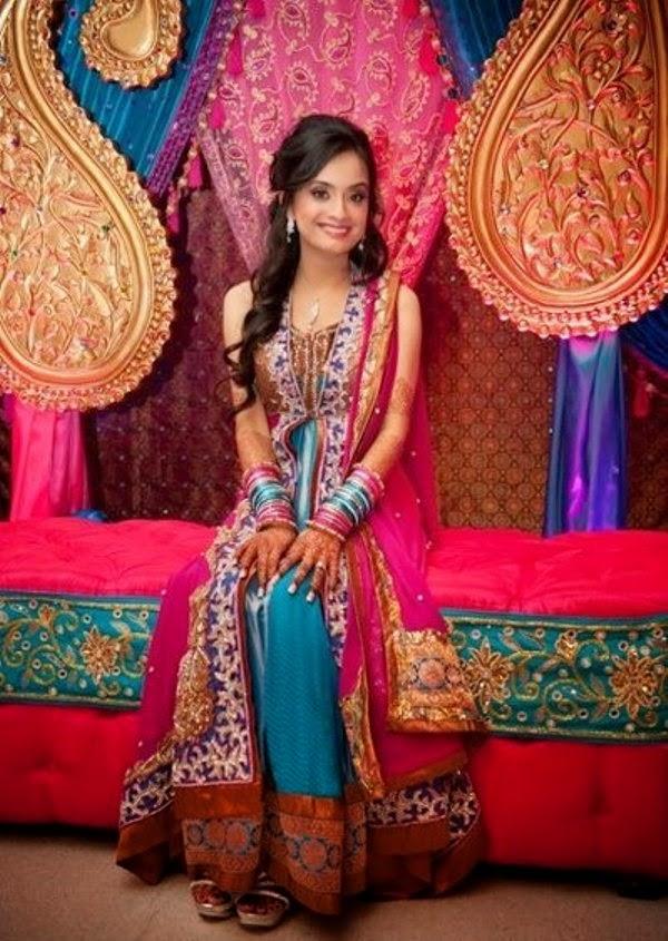 Pakistani mehndi dresses designs 2015 for bridals for Pakistani wedding mehndi dresses