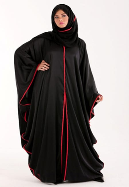 abaya with red embroidary