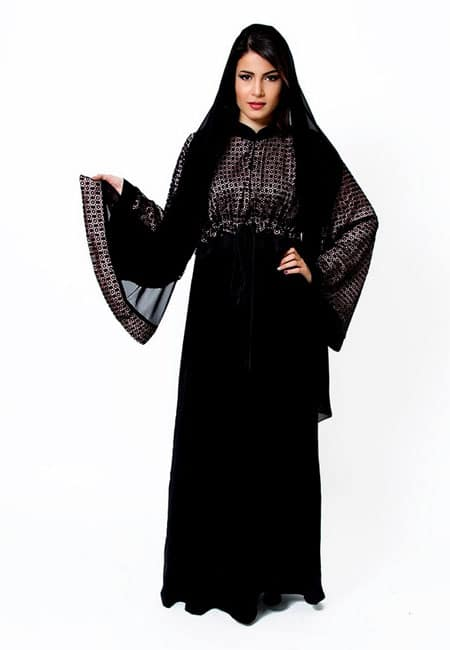 black shaded and net like abaya