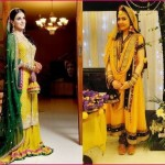 designer wedding dresses for Mehndi yellow orange