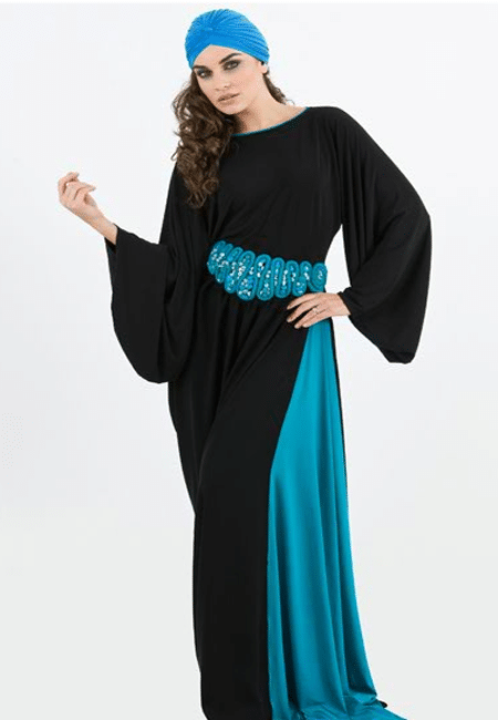 dubai style abaya with blue cap for women