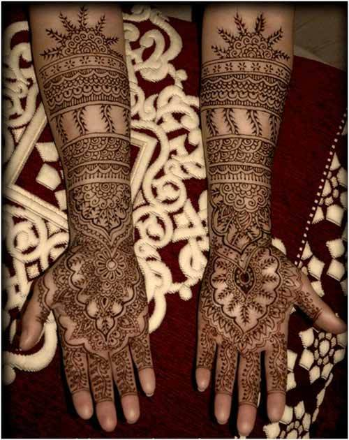 Elegant full hands mehndi designs for brides