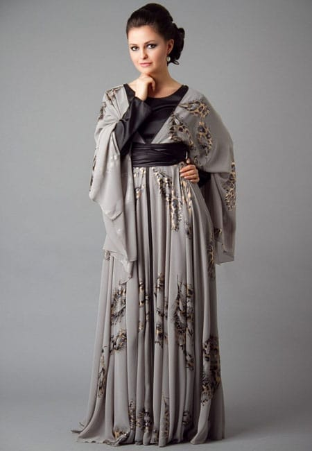 grey and silver color abaya