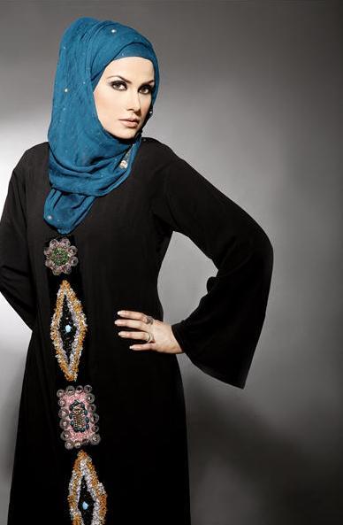hijab styles with blue abya 2016