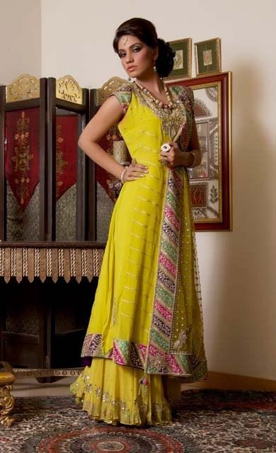 Pakistani Mehndi Dresses Designs 2015 For Bridals