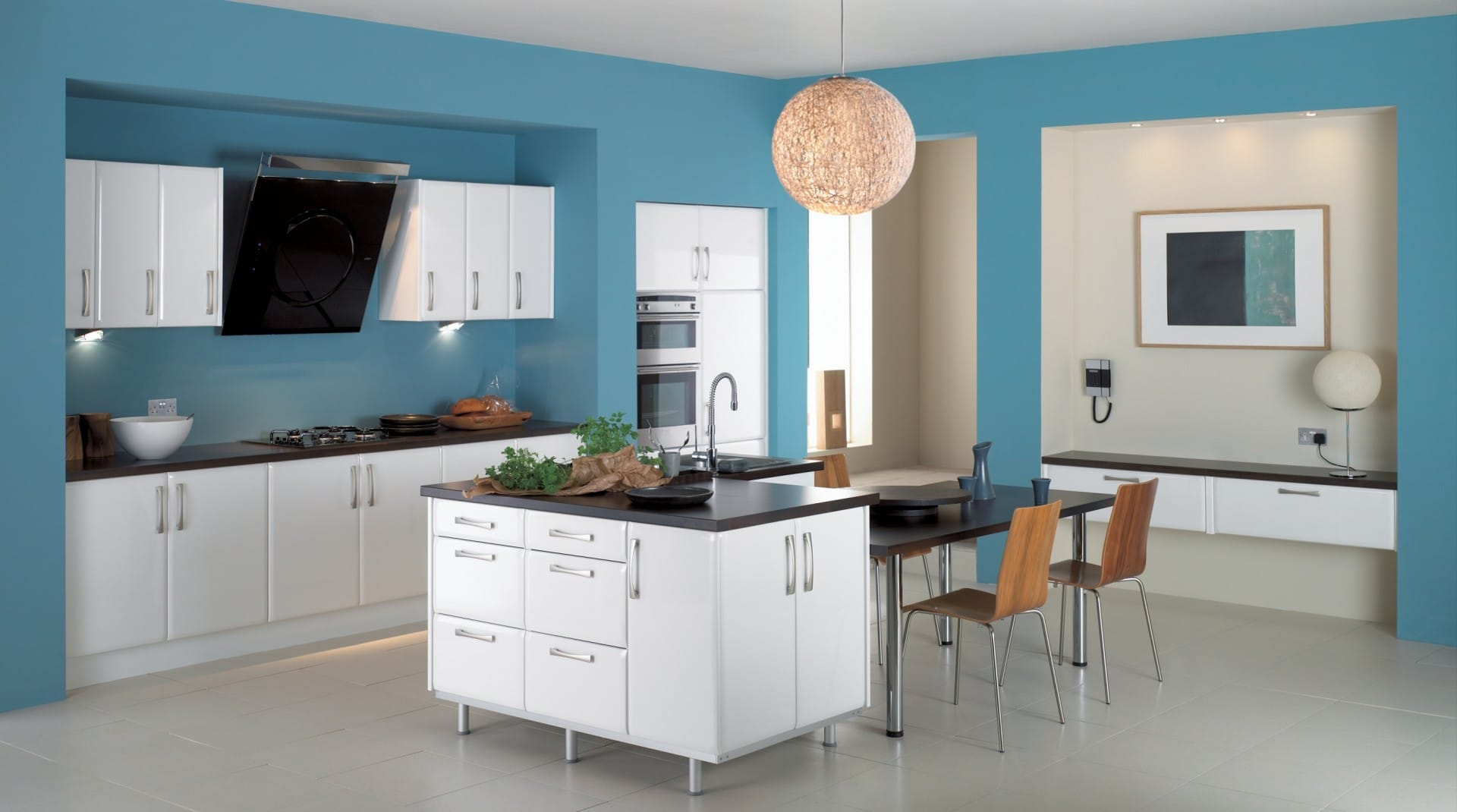 Paint Ideas For Small Kitchens Part - 26: Small-Kitchen-light-Blue-Paint-Colors-Ideas